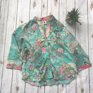 josie Tops - Josie Asian Print Blue Floral Blouse Size Small